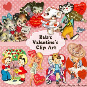 retro valentine clip art  digital collage club