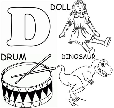 picture of objects starting with letter d coloring pages that start with the letter d sketch 30311