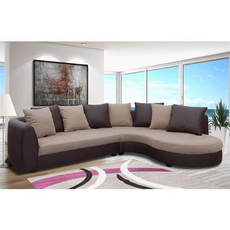 canapé d 39 angle à droite en pu marron et tissu beige