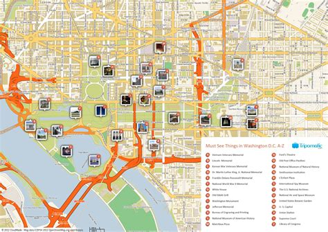 printable map  washington dc attractions