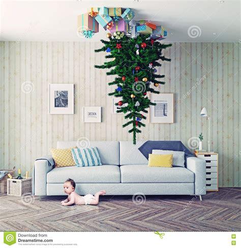 Weihnachtsbaum Auf Der Decke Stock Abbildung  Bild 63756258