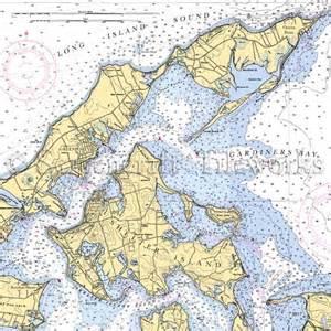 Kitchen Island With Table Combination New York Greenport Shelter Island Gardiner 39 S Bay Nautical Chart Decor