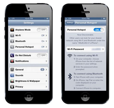 lets you enable tethering hotspot on iphone without