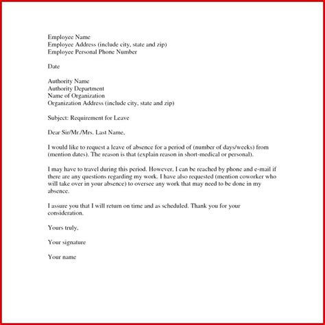 leave  absence letter word format  requesting