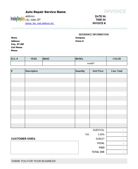 auto repair invoice template purchase order exle word 6 results found invoice software