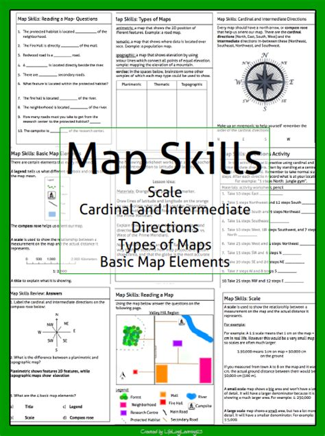 free map scale worksheets for 3rd grade map skills maps