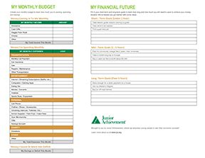 Teen Budget Sheets  Junior Achievement Usa
