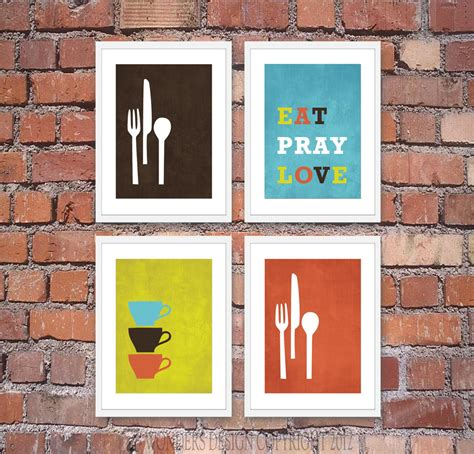 modern kitchen wall print set inspirational by