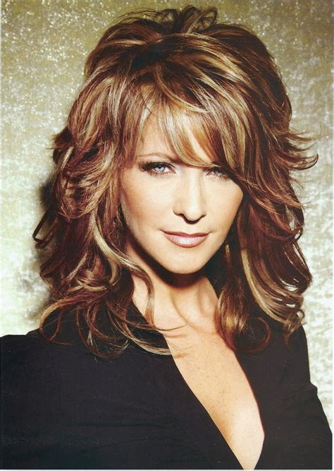 hairstyles for curly medium length hair with bangs best medium length hairstyles with highlights