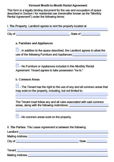 vermont month  month lease agreement template