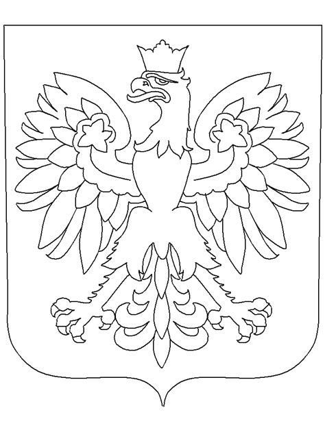 printable poland coat  arms countries coloring pages