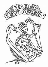 Coloring Halloween Mummy Pages Printable Spider Coffin Template Dinosaur 4kids Printables Open sketch template