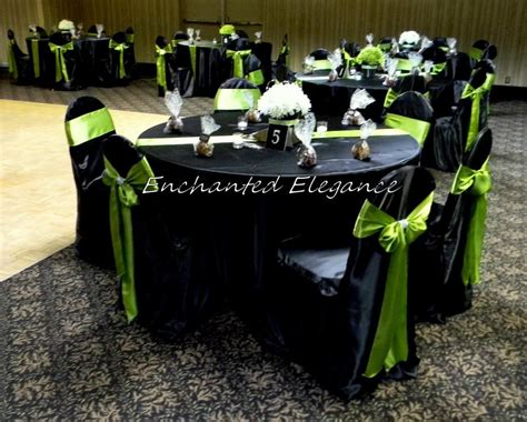 Black Satin Banquet Chair Covers And Green Satin Chair