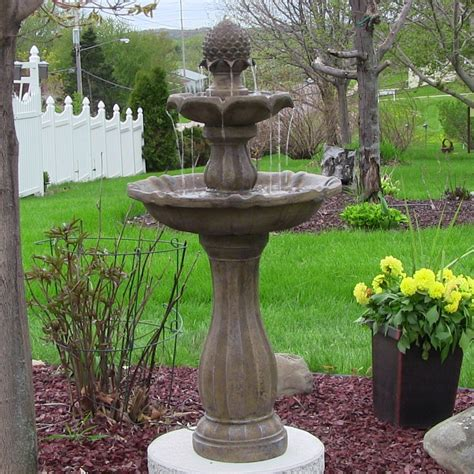 solar garden fountains sunnydaze 46 quot 2 tier pineapple solar on demand water