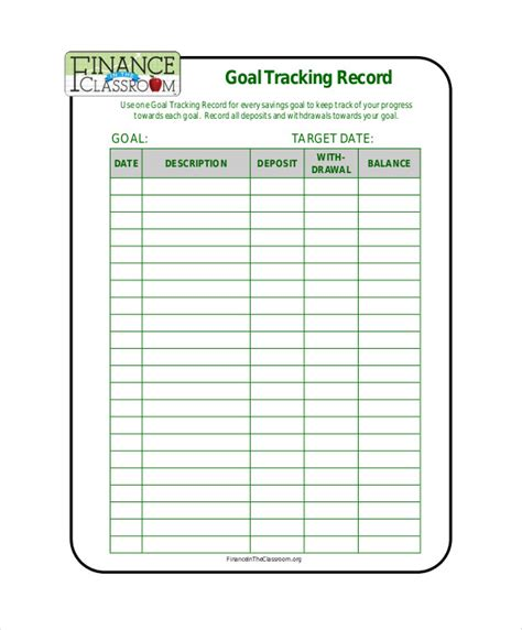 goal tracker template 10 goal tracking templates free sle exle format free premium templates