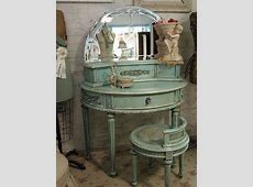 French blue and gold vanity table , blue, vintage