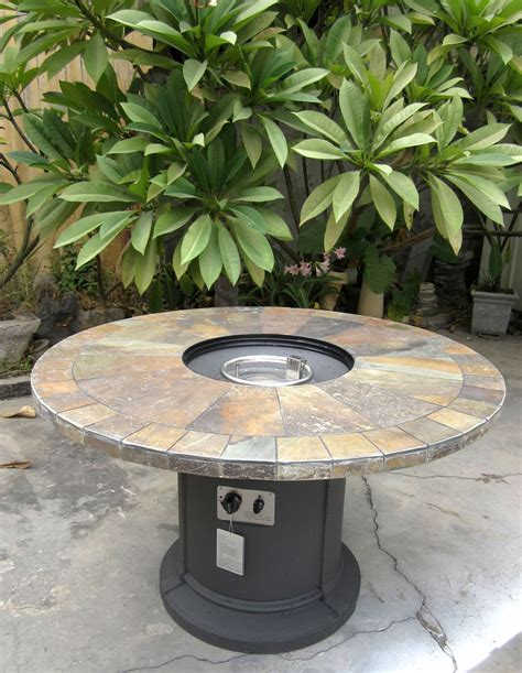 gas fireplace fire pit outdoor natural slate top lava