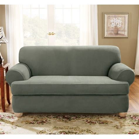 2 piece t cushion sofa slipcover sure fit stretch suede loveseat 2 piece t cushion