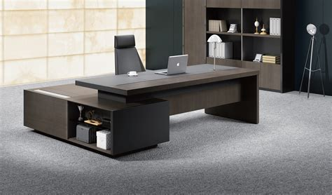 Stylish Larry Office Table In Wood & Leather Boss's Cabin