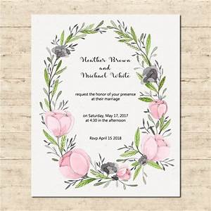 cute wedding card with a floral frame vector free download With wedding invitation framed with flowers
