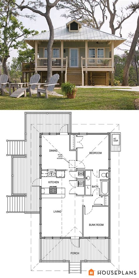 Beach Style House Plan 2 Beds 1 Baths 869 Sq/Ft Plan