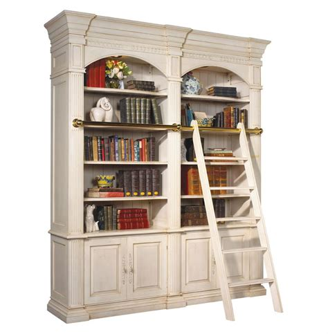 library bookcase with ladder percier french country white double library bookcase with