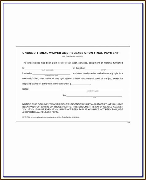 sba landlord lien waiver form form resume examples