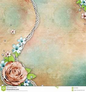 Vintage Textured Background With Rose, Lace And Royalty ...