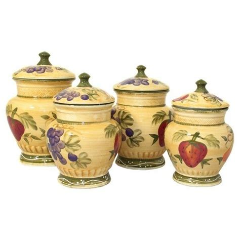 Style Kitchen Canister Sets by Kitchen Canister Set Painted Tuscan Design Ceramic 4