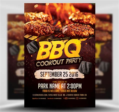 bbq cookout party flyer template flyerheroes