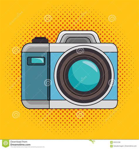 Photo Camera Pop Art Icon Design Graphic Stock