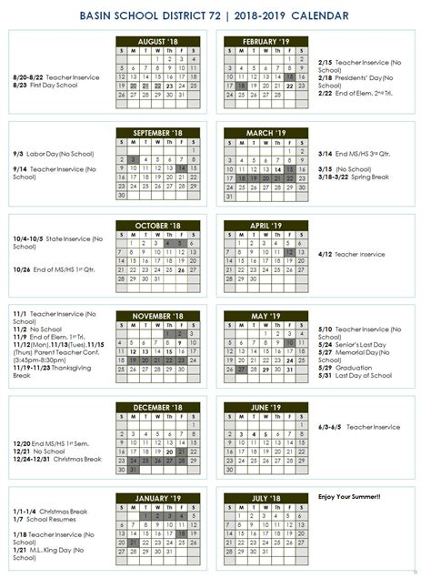 school year calendar idaho city schools