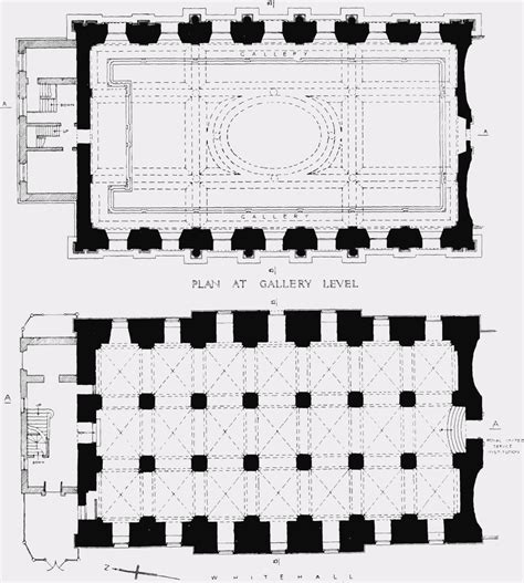 plate  banqueting house plans  ground level  gallery level british history