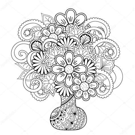 Bloemenvaas Kleurplaat by Vaas Met Bloemen De Doodle Stockvector 169 Sliplee