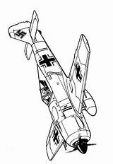 Ww2 Wwii Fun Aircraft Coloring Pages Airplane Outlines Plane Aircrafts Focke 1942 Crafts War Fw 190a Wulff Drawing Planes Ii sketch template