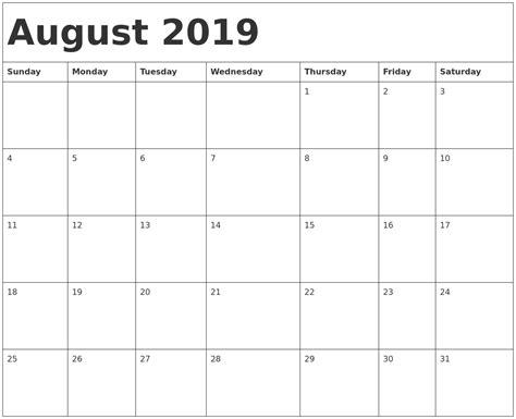 Calendar Template 2019 August 2019 Calendar Template