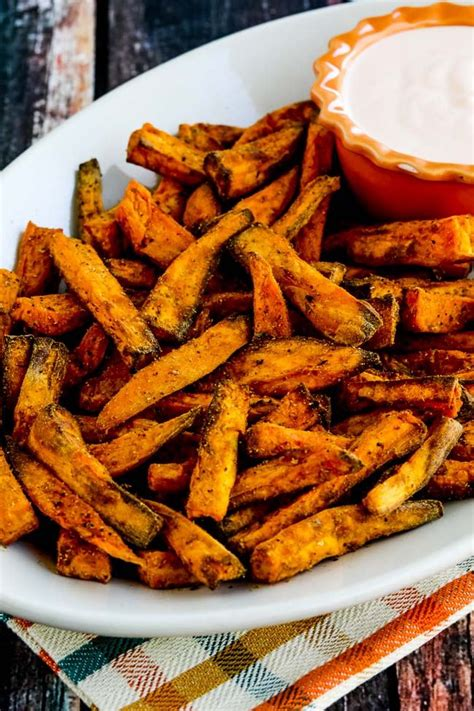 potato sweet fryer fries air recipes spicy vegan healthy kalyn french recipe kitchen nuwave fry oven kalynskitchen wedges crispy sriracha