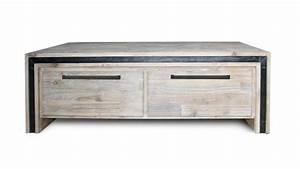 Table Basse Bois Industriel : table salon bois massif acacia 2 tiroirs amylton mobilier moss ~ Teatrodelosmanantiales.com Idées de Décoration