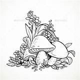Mushrooms Coloring Flowers Mushroom Graphics Decorative Nature Drawing Mandala Plants Vector Ornamental Drawings Adult Fairytale Crops Cartoon Colouring Flower Lovesmag sketch template