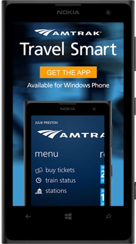 amtrak mobile app available on windows phone