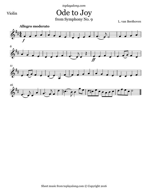 beethoven ode to joy from symphony no 9 sheet music for
