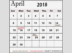 April 2018 Calendar Telugu in printable and templates format