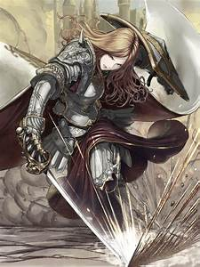 Anime, Girls, Original, Characters, Knight, Fantasy, Armor, Shield, Sword, Anime, Wallpaper