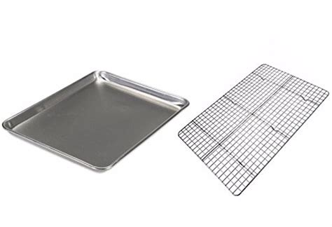 checkered chef half sheet pan and rack aluminum