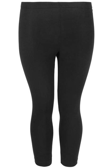 black cotton essential cropped leggings  size