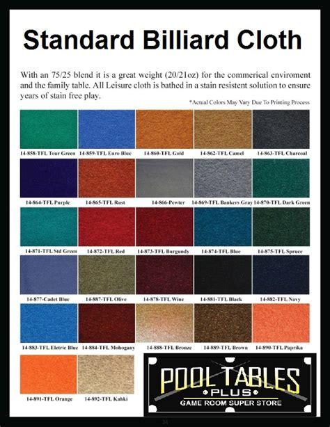 pool table cloth colors cloth color chart pool tables plus daytona beach fl
