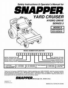Snapper Lawn Mower Hzs14331bve  Hzs14381bve  Hzs15421kve