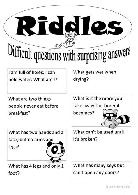 riddles english esl worksheets  distance learning
