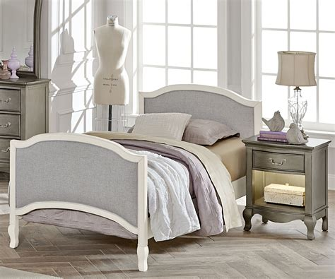 Kensington White Finish Victoria Twin Size Upholstered Bed