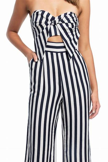 Jumpsuit Stripe Bardot Bow Clothing Jumpsuits